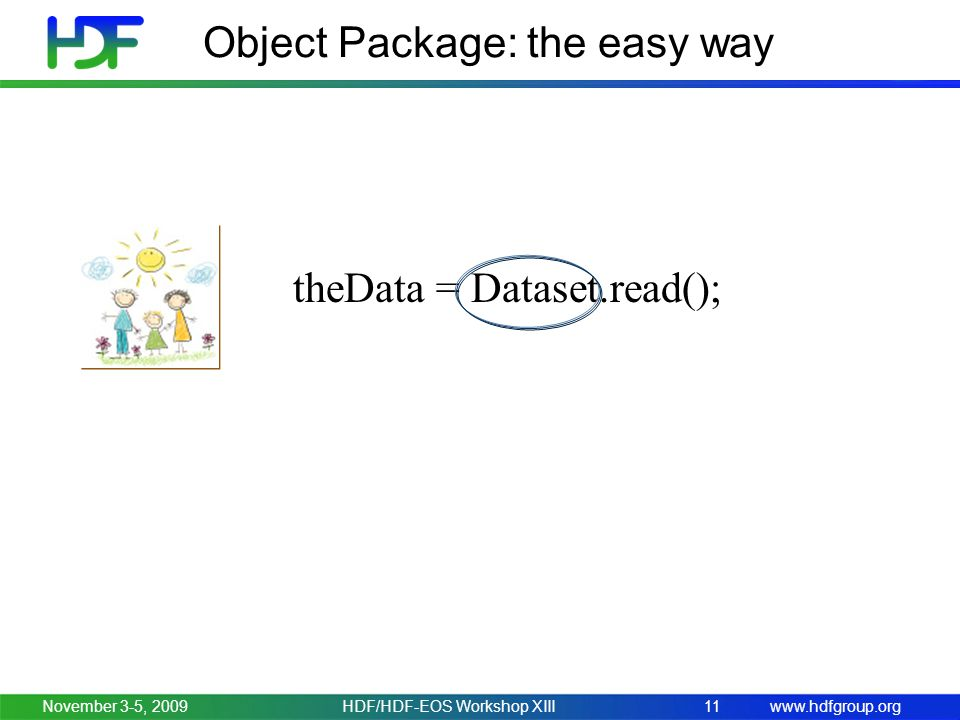 www.hdfgroup.org Object Package: the easy way November 3-5, 2009HDF/HDF-EOS Workshop XIII11 theData = Dataset.read();