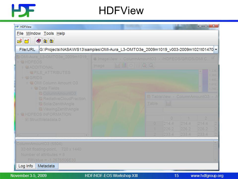www.hdfgroup.org HDFView November 3-5, 2009HDF/HDF-EOS Workshop XIII15
