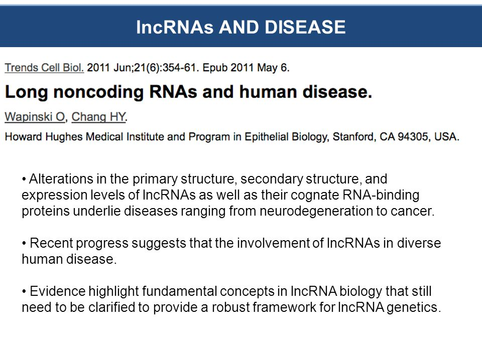lncRNAs AND DISEASE Alterations in the primary structure, secondary structure, and expression levels of lncRNAs as well as their cognate RNA-binding proteins underlie diseases ranging from neurodegeneration to cancer.