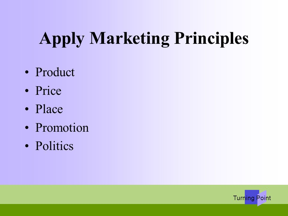 Turning Point Apply Marketing Principles Product Price Place Promotion Politics