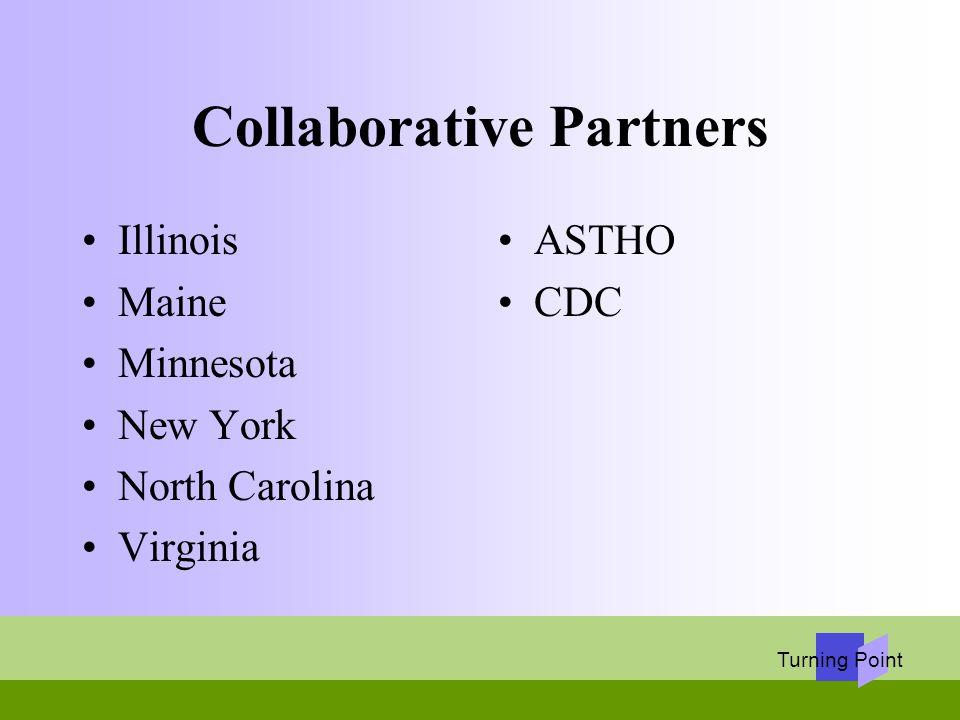 Turning Point Collaborative Partners Illinois Maine Minnesota New York North Carolina Virginia ASTHO CDC