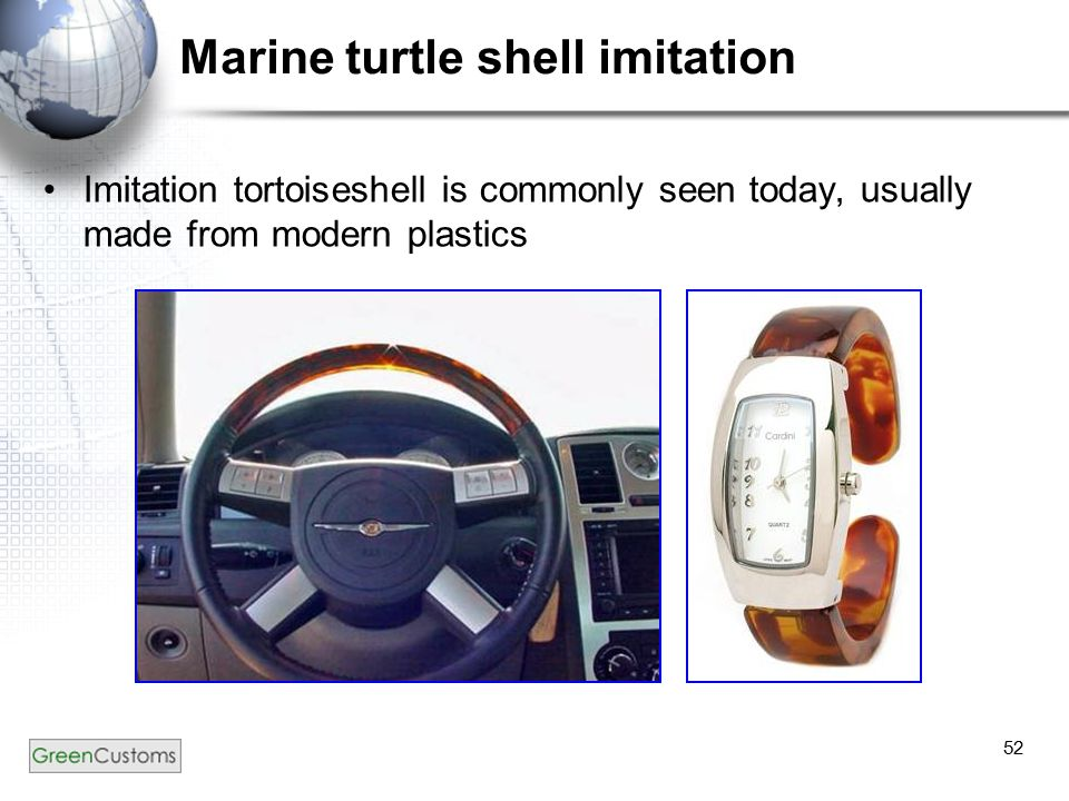52 Marine turtle shell imitation Imitation tortoiseshell is commonly seen today, usually made from modern plastics