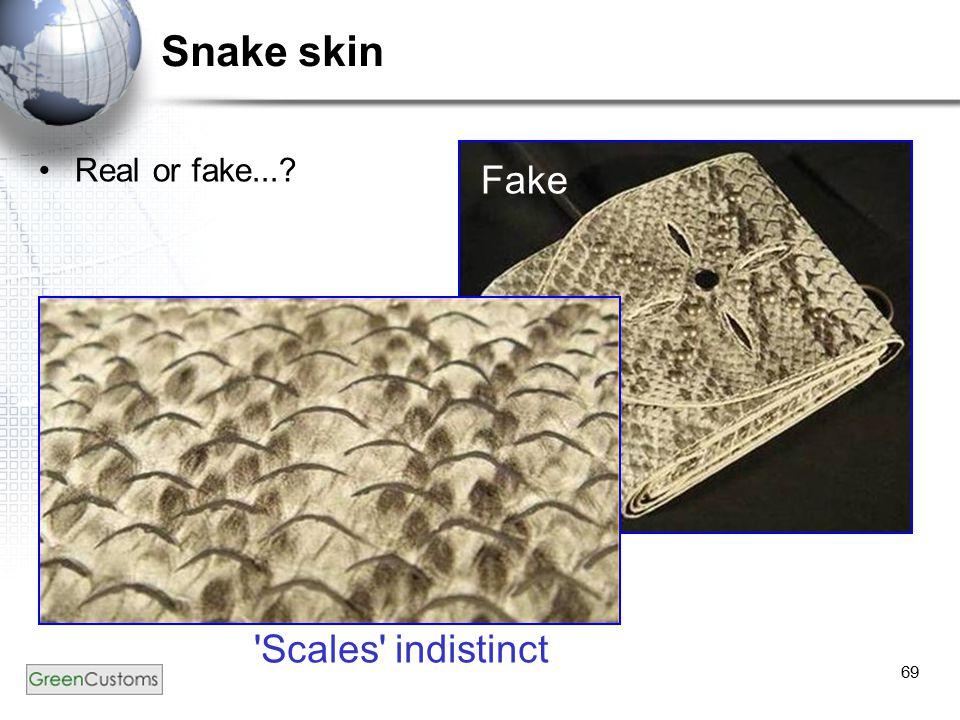 69 Snake skin Real or fake...? Fake 'Scales' indistinct