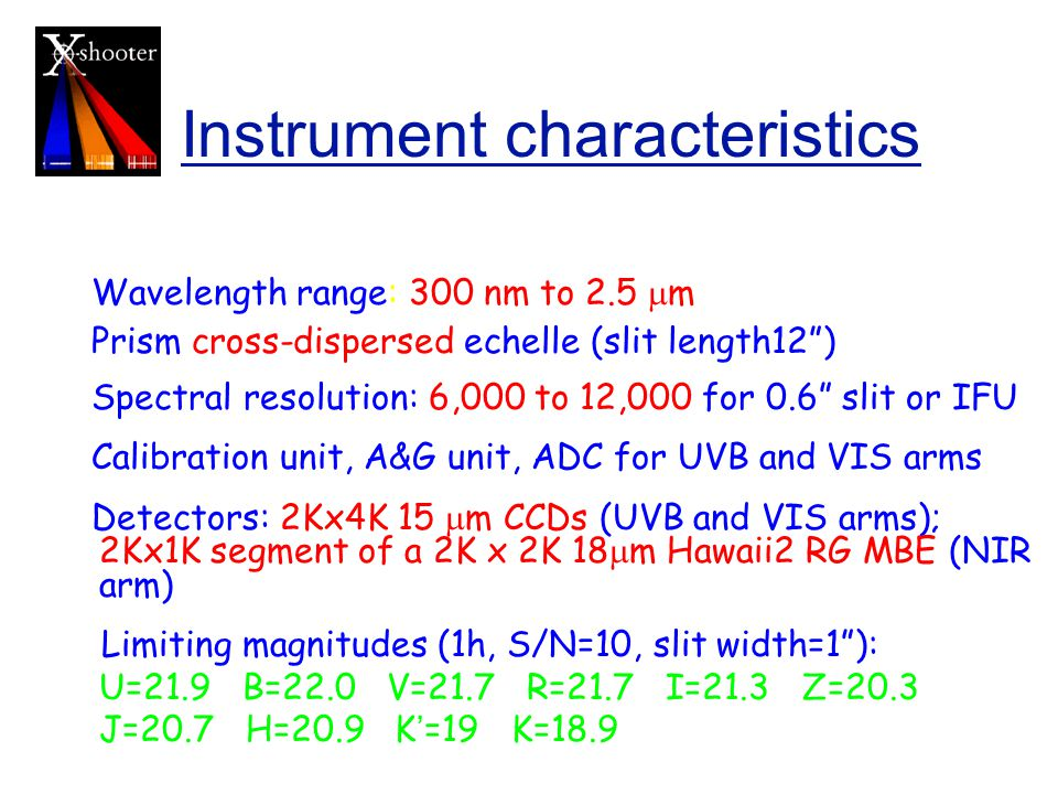 Instrument characteristics Wavelength range: 300 nm to 2.5  m Prism cross-dispersed echelle (slit length12 ) Spectral resolution: 6,000 to 12,000 for 0.6 slit or IFU Calibration unit, A&G unit, ADC for UVB and VIS arms Detectors: 2Kx4K 15  m CCDs (UVB and VIS arms); 2Kx1K segment of a 2K x 2K 18  m Hawaii2 RG MBE (NIR arm) Limiting magnitudes (1h, S/N=10, slit width=1 ): U=21.9 B=22.0 V=21.7 R=21.7 I=21.3 Z=20.3 J=20.7 H=20.9 K ' =19 K=18.9