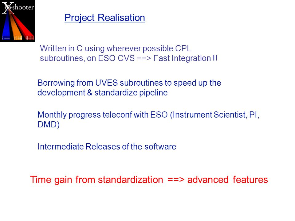 Project Realisation Written in C using wherever possible CPL subroutines, on ESO CVS ==> Fast Integration !.