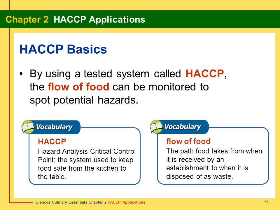 Glencoe Culinary Essentials Chapter 2 HACCP Applications Chapter 2 HACCP Applications 11 By using a tested system called HACCP, the flow of food can be monitored to spot potential hazards.