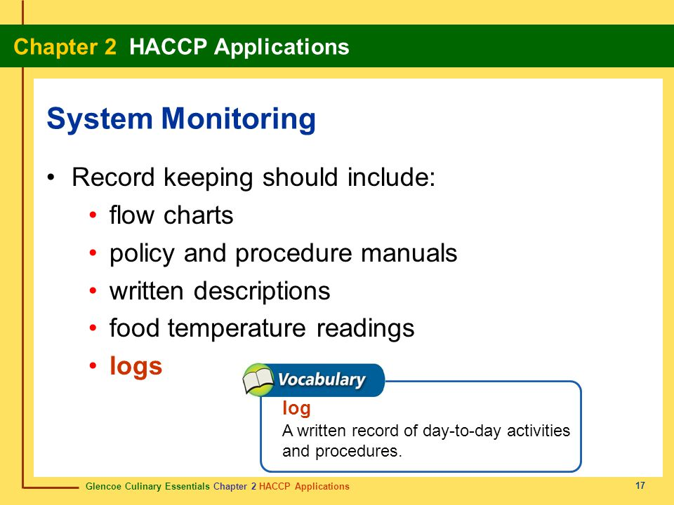 Glencoe Culinary Essentials Chapter 2 HACCP Applications Chapter 2 HACCP Applications 17 Record keeping should include: flow charts policy and procedure manuals written descriptions food temperature readings logs System Monitoring log A written record of day-to-day activities and procedures.