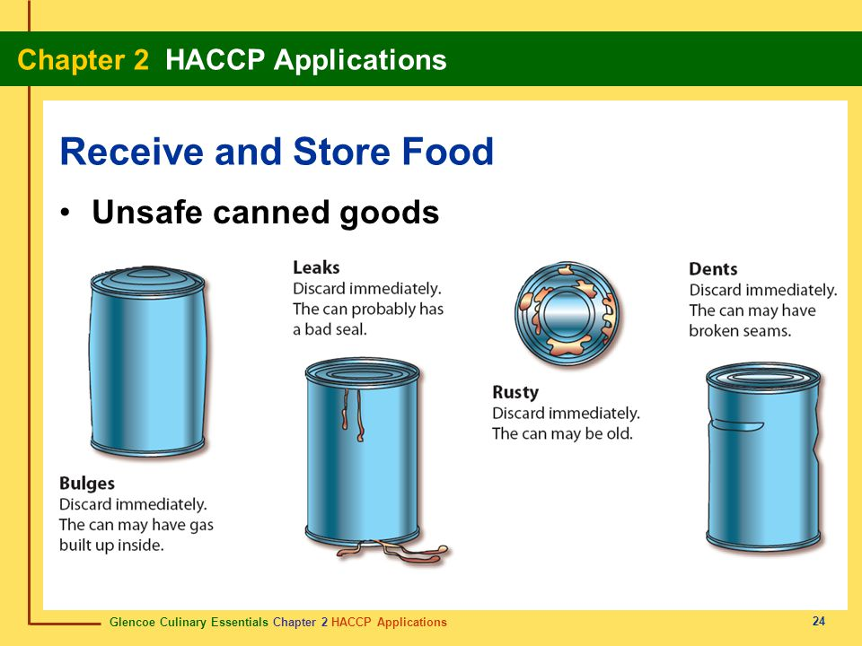 Glencoe Culinary Essentials Chapter 2 HACCP Applications Chapter 2 HACCP Applications 24 Receive and Store Food Unsafe canned goods