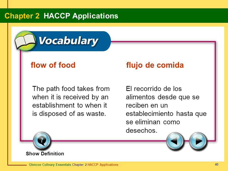 Glencoe Culinary Essentials Chapter 2 HACCP Applications Chapter 2 HACCP Applications 40 Show Definition The path food takes from when it is received by an establishment to when it is disposed of as waste.