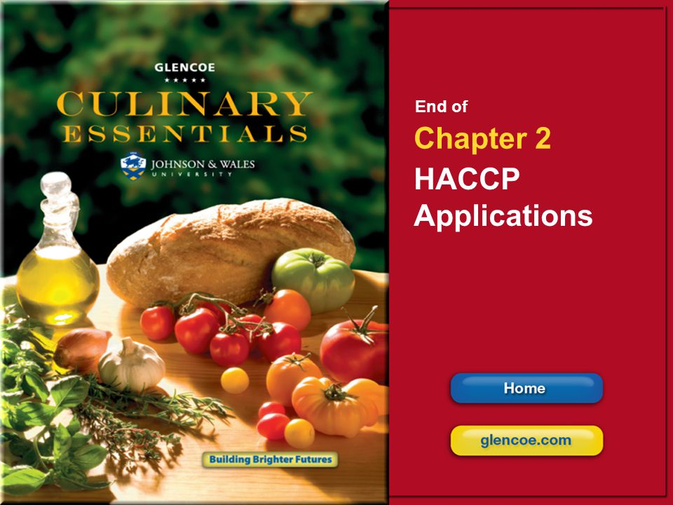 End of Chapter 2 HACCP Applications