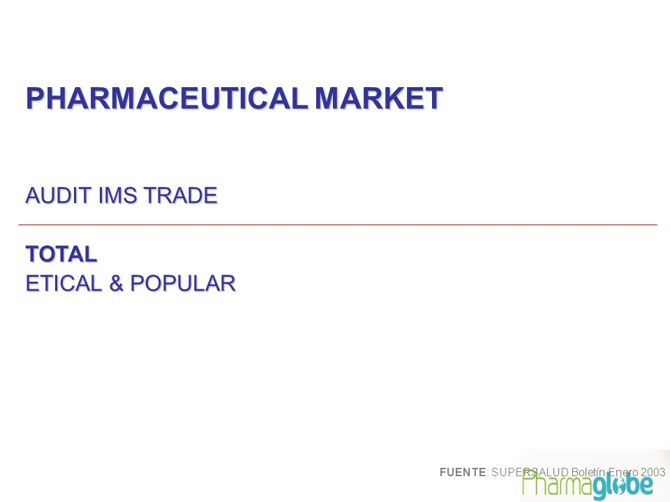 PHARMACEUTICAL MARKET AUDIT IMS TRADE TOTAL ETICAL & POPULAR FUENTE: SUPERSALUD Boletín Enero 2003
