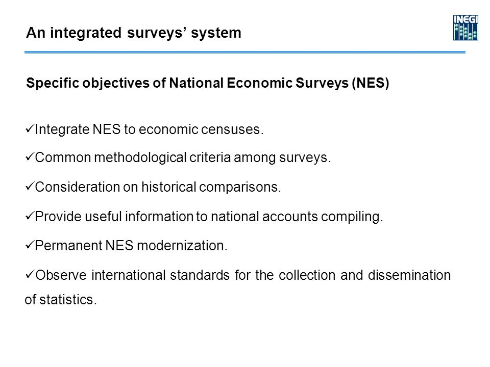Integrate NES to economic censuses. Common methodological criteria among surveys.