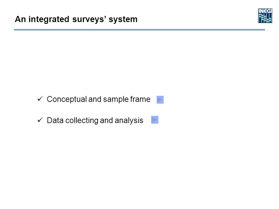 Conceptual and sample frame Data collecting and analysis An integrated surveys' system