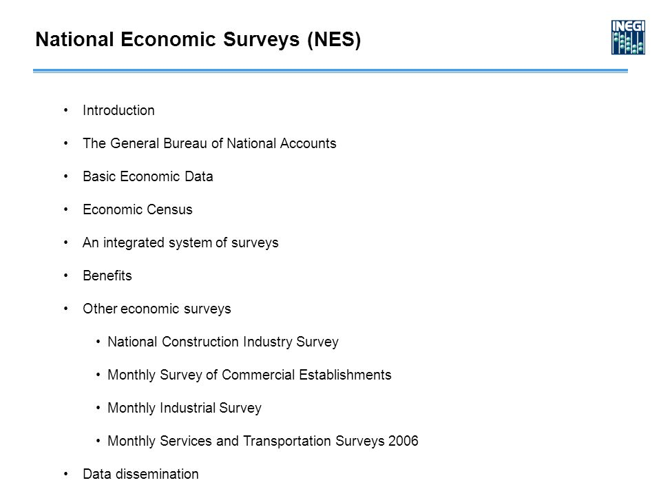 Introduction The General Bureau of National Accounts Basic Economic Data Economic Census An integrated system of surveys Benefits Other economic surve