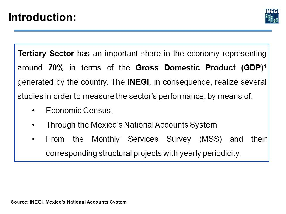 Tertiary Sector has an important share in the economy representing around 70% in terms of the Gross Domestic Product (GDP) 1 generated by the country.