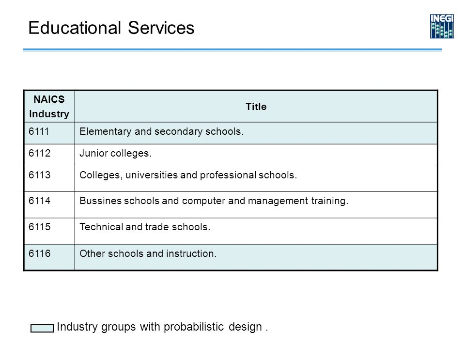 NAICS Industry Title 6111Elementary and secondary schools.