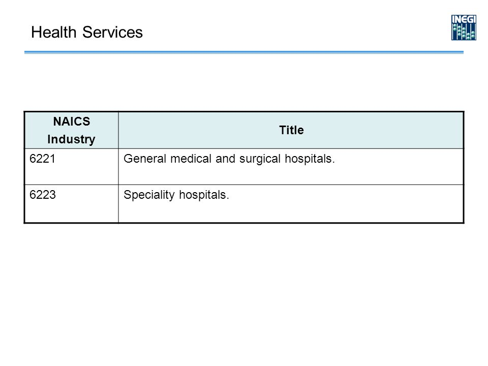 NAICS Industry Title 6221General medical and surgical hospitals.