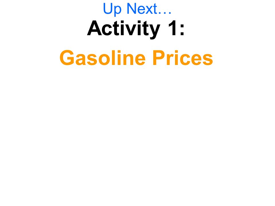 Up Next… Activity 1: Gasoline Prices
