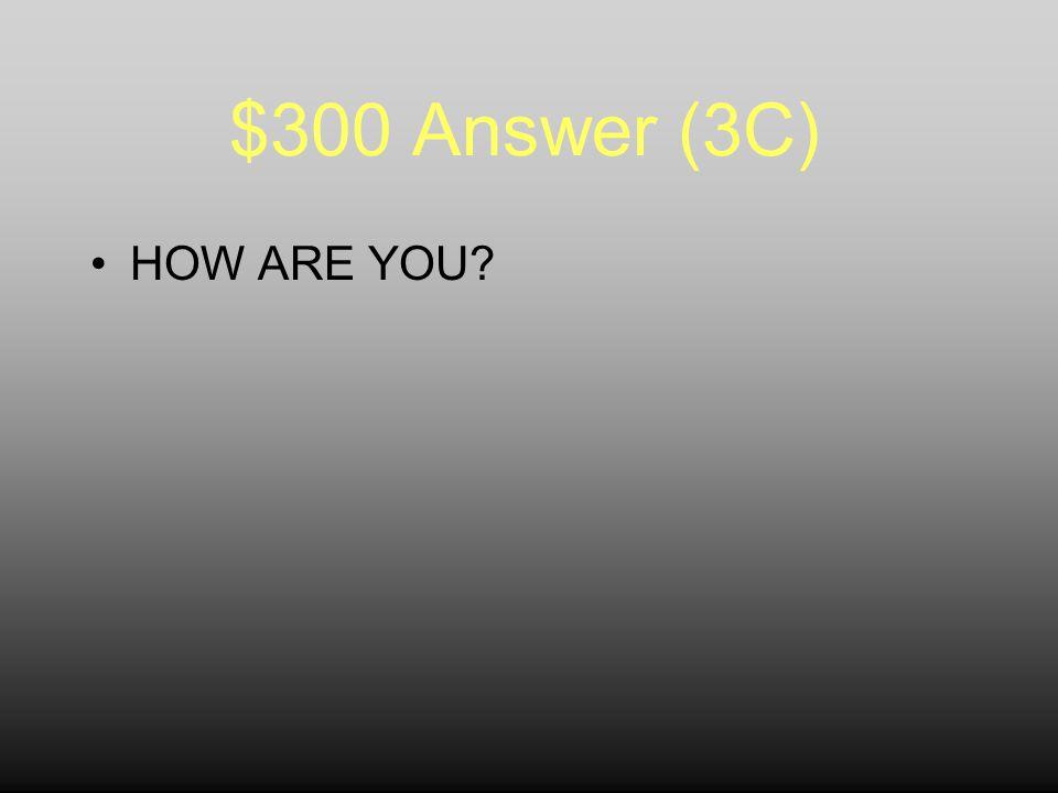 $300 Question (3C) ¿QUÉ SIGNIFICA… ¿Cómo estás