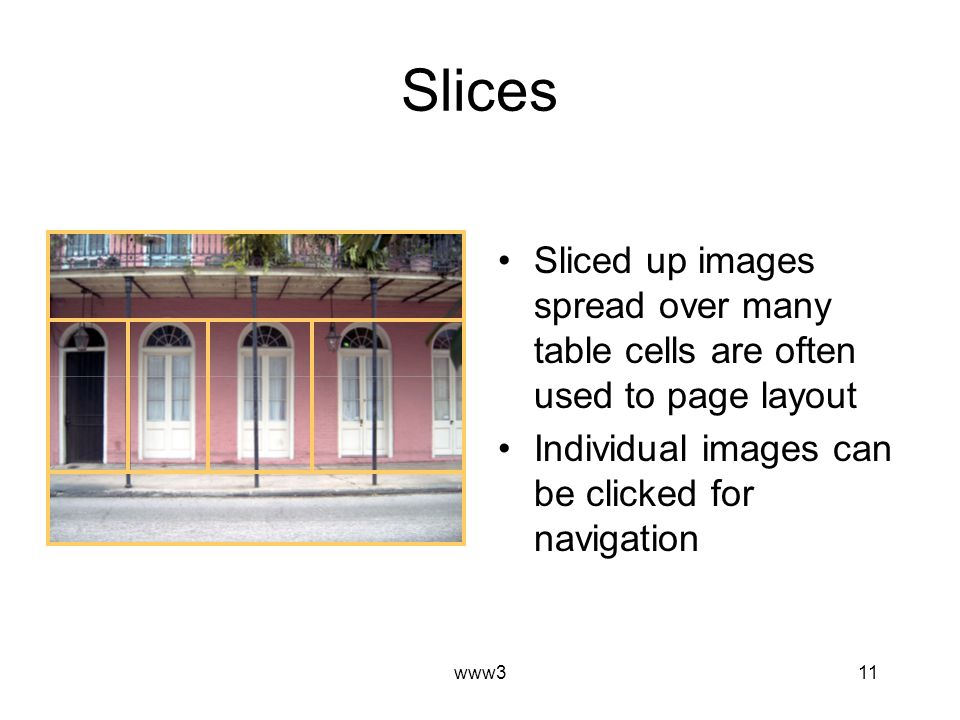 www311 Slices Sliced up images spread over many table cells are often used to page layout Individual images can be clicked for navigation