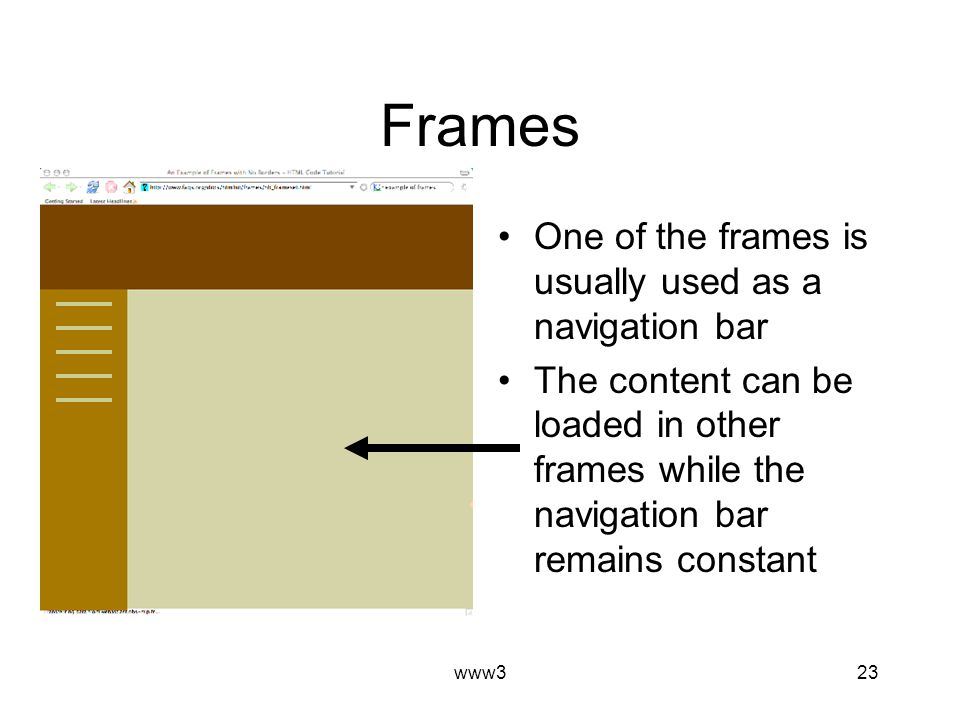 www323 Frames One of the frames is usually used as a navigation bar The content can be loaded in other frames while the navigation bar remains constant