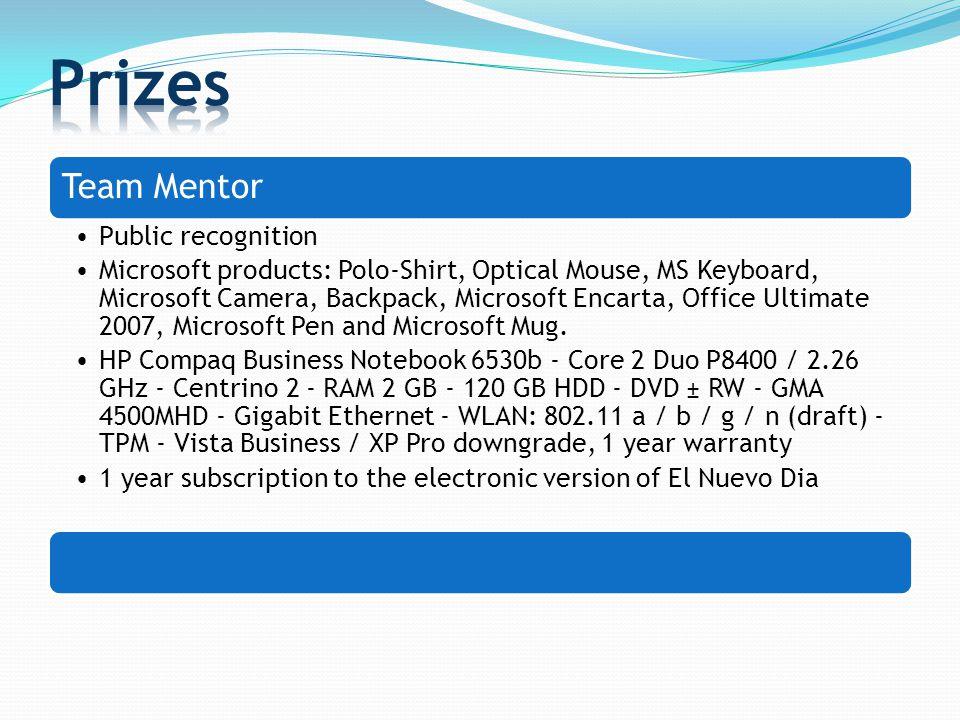 Team Mentor Public recognition Microsoft products: Polo-Shirt, Optical Mouse, MS Keyboard, Microsoft Camera, Backpack, Microsoft Encarta, Office Ultimate 2007, Microsoft Pen and Microsoft Mug.
