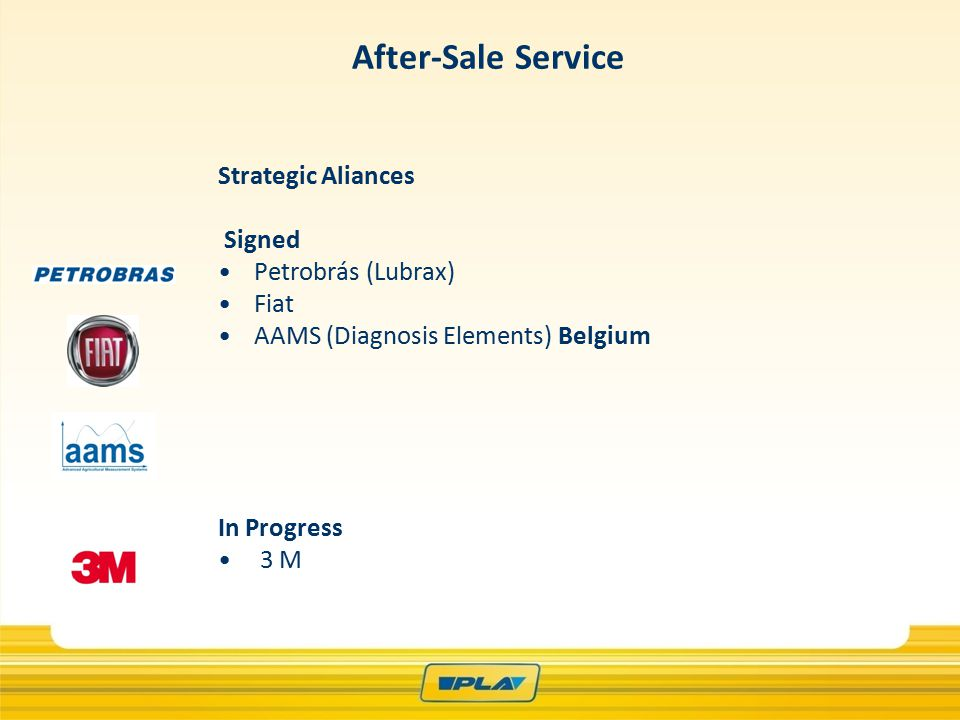 Strategic Aliances Signed Petrobrás (Lubrax) Fiat AAMS (Diagnosis Elements) Belgium In Progress 3 M After-Sale Service