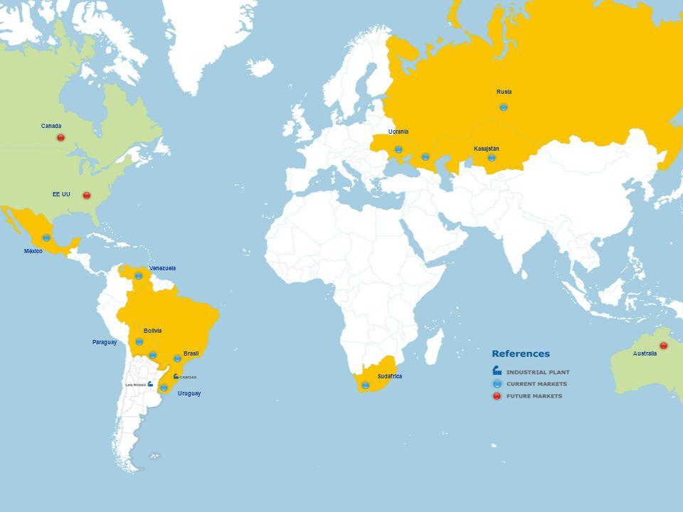 Bolivia Paraguay Uruguay Sudáfrica Ucrania Rusia Kasajstán Venezuela Brasil México Canada EE UU Australia
