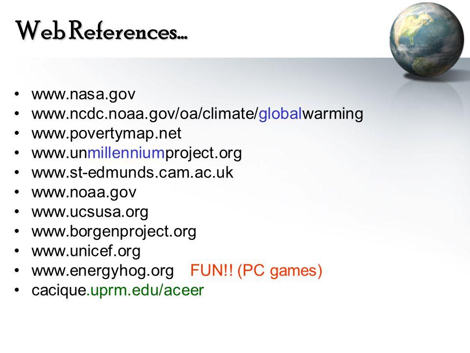 Web References… www.nasa.gov www.ncdc.noaa.gov/oa/climate/globalwarming www.povertymap.net www.unmillenniumproject.org www.st-edmunds.cam.ac.uk www.noaa.gov www.ucsusa.org www.borgenproject.org www.unicef.org www.energyhog.org FUN!.