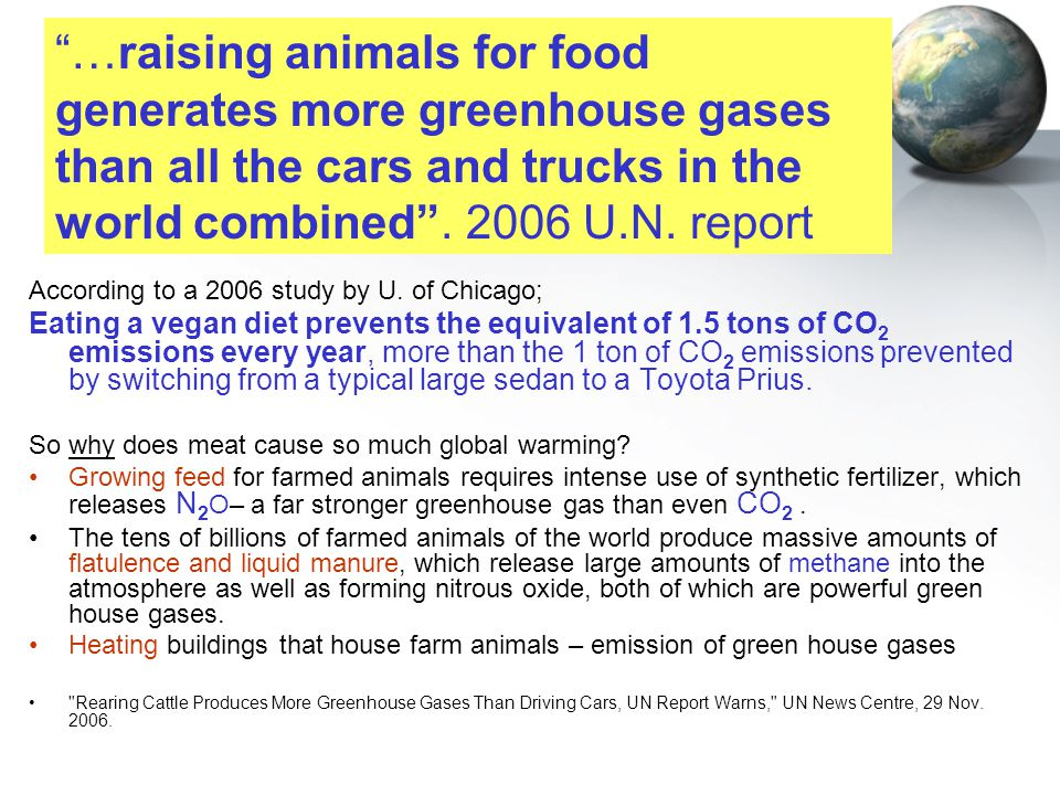 According to a 2006 study by U. of Chicago; Eating a vegan diet prevents the equivalent of 1.5 tons of CO 2 emissions every year, more than the 1 ton