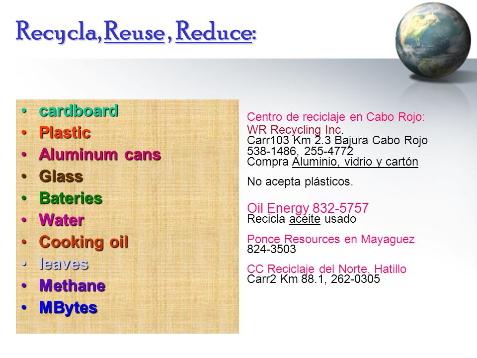 Recycla, Reuse, Reduce: cardboardcardboard PlasticPlastic Aluminum cansAluminum cans GlassGlass BateriesBateries WaterWater Cooking oilCooking oil leavesleaves MethaneMethane MBytesMBytes Centro de reciclaje en Cabo Rojo: WR Recycling Inc.