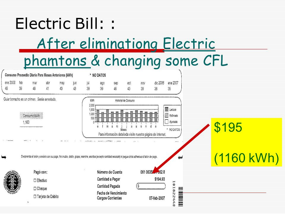 Electric Bill: : After eliminationg Electric phamtons & changing some CFL $195 (1160 kWh)