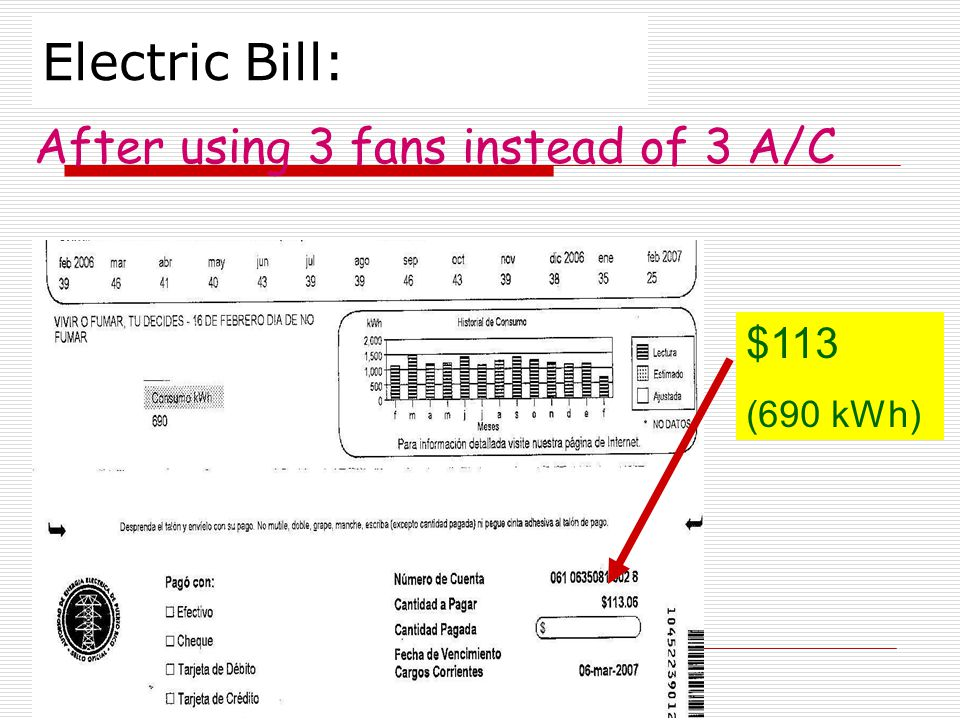 Electric Bill: $113 (690 kWh) After using 3 fans instead of 3 A/C