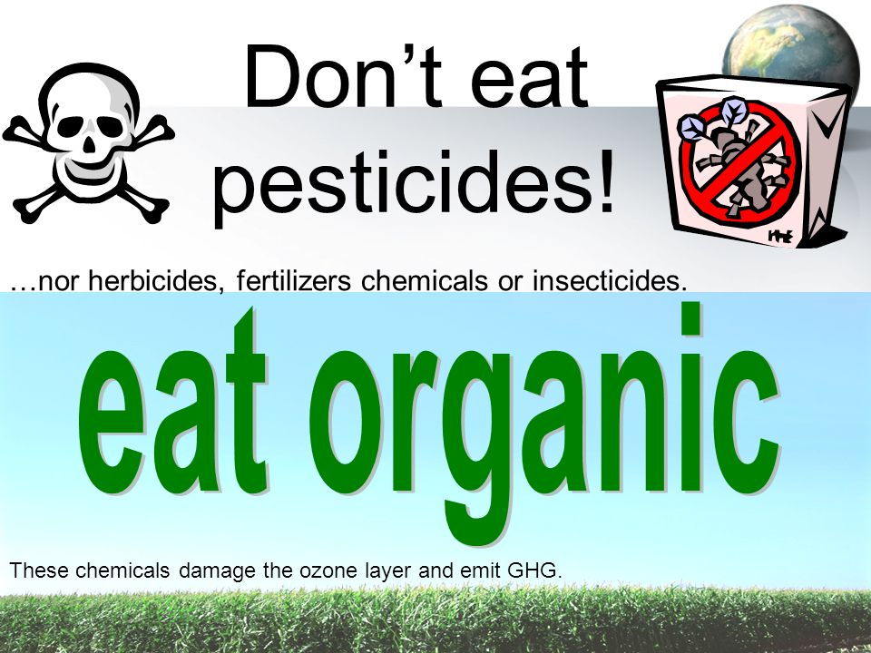 Don't eat pesticides! …nor herbicides, fertilizers chemicals or insecticides. These chemicals damage the ozone layer and emit GHG.
