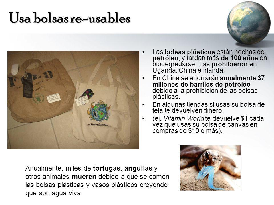 Usa bolsas re-usables Las bolsas plásticas están hechas de petróleo, y tardan más de 100 años en biodegradarse.