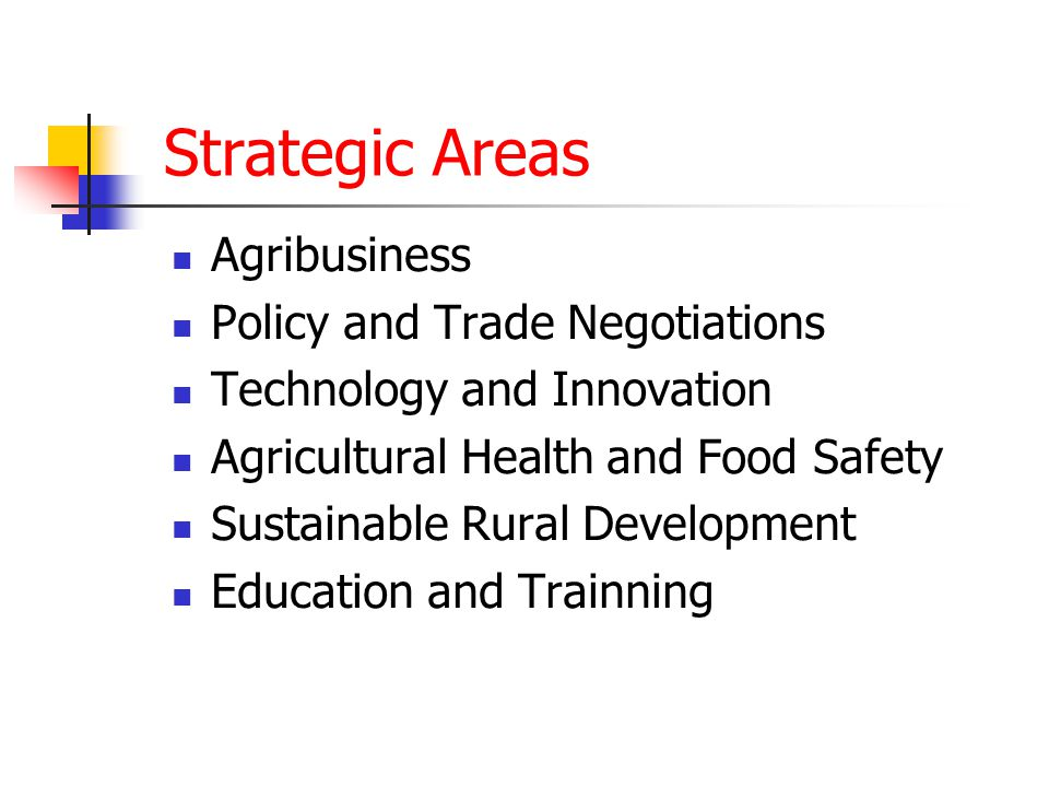 Strategic Areas Agribusiness Policy and Trade Negotiations Technology and Innovation Agricultural Health and Food Safety Sustainable Rural Development