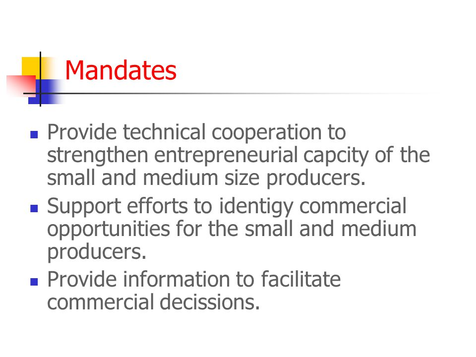 Mandates Provide technical cooperation to strengthen entrepreneurial capcity of the small and medium size producers. Support efforts to identigy comme