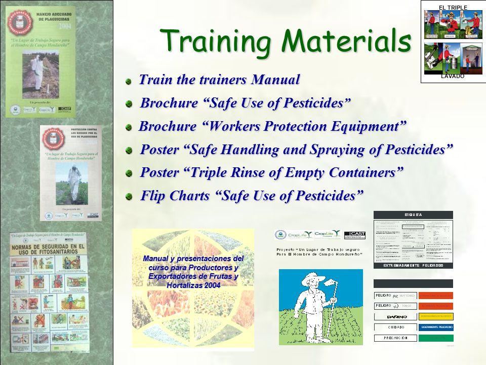 "Train the trainers Manual Train the trainers Manual Brochure ""Safe Use of Pesticides "" Brochure ""Safe Use of Pesticides "" Brochure ""Workers Protection"