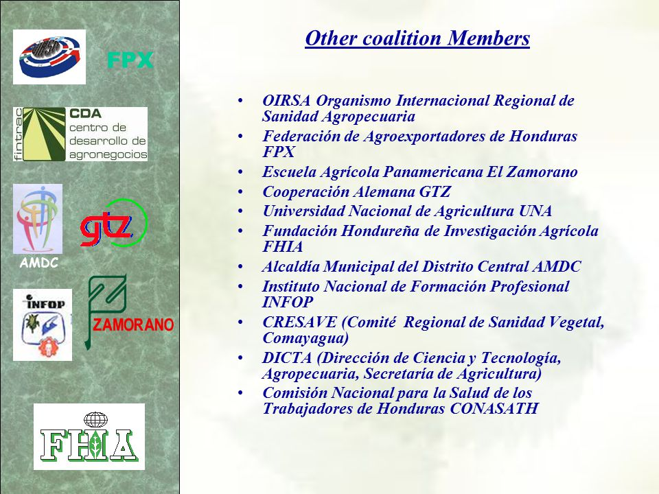 Objective Objective Establish in Honduras a sustainable program to train farmers and agricultural workers on the safe and proper use of pesticides, in order to protect human health and the environment.
