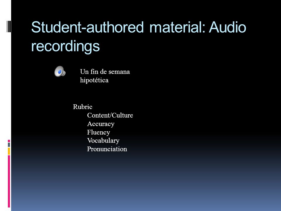 Student-authored material: Audio recordings Un fin de semana hipotética Rubric Content/Culture Accuracy Fluency Vocabulary Pronunciation