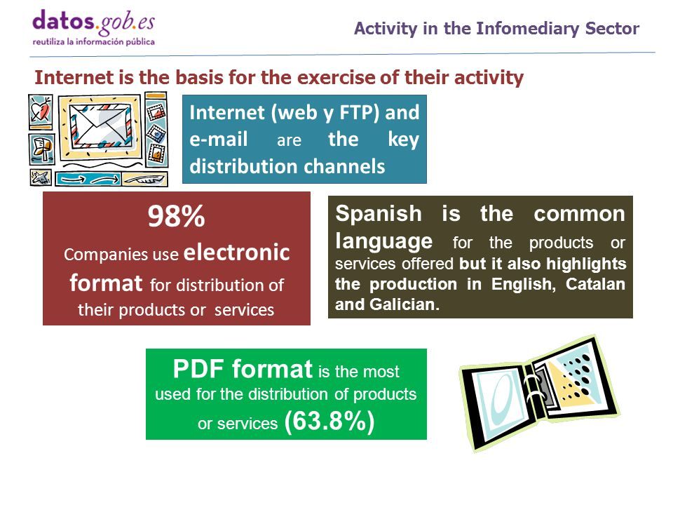 Activity in the Infomediary Sector Internet is the basis for the exercise of their activity Internet (web y FTP) and e-mail are the key distribution channels 98% Companies use electronic format for distribution of their products or services PDF format is the most used for the distribution of products or services (63.8%) Spanish is the common language for the products or services offered but it also highlights the production in English, Catalan and Galician.