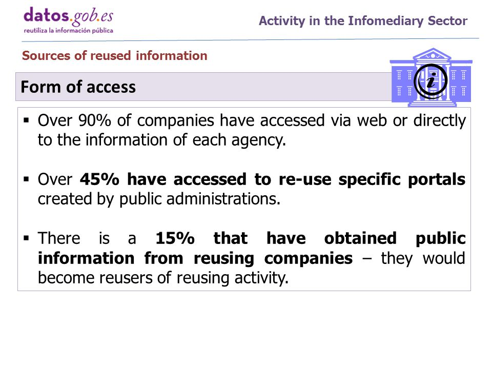Activity in the Infomediary Sector Sources of reused information  Over 90% of companies have accessed via web or directly to the information of each agency.
