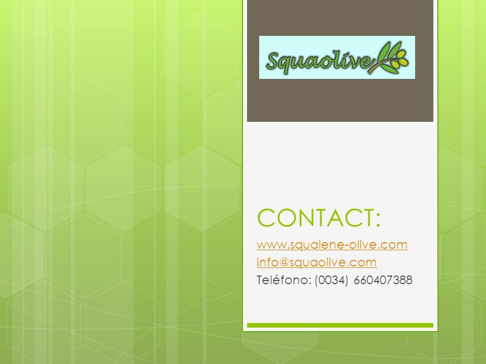 CONTACT: www.squalene-olive.com info@squaolive.com Teléfono: (0034) 660407388