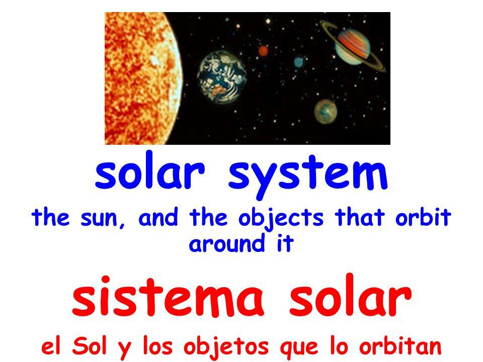 solar system the sun, and the objects that orbit around it sistema solar el Sol y los objetos que lo orbitan