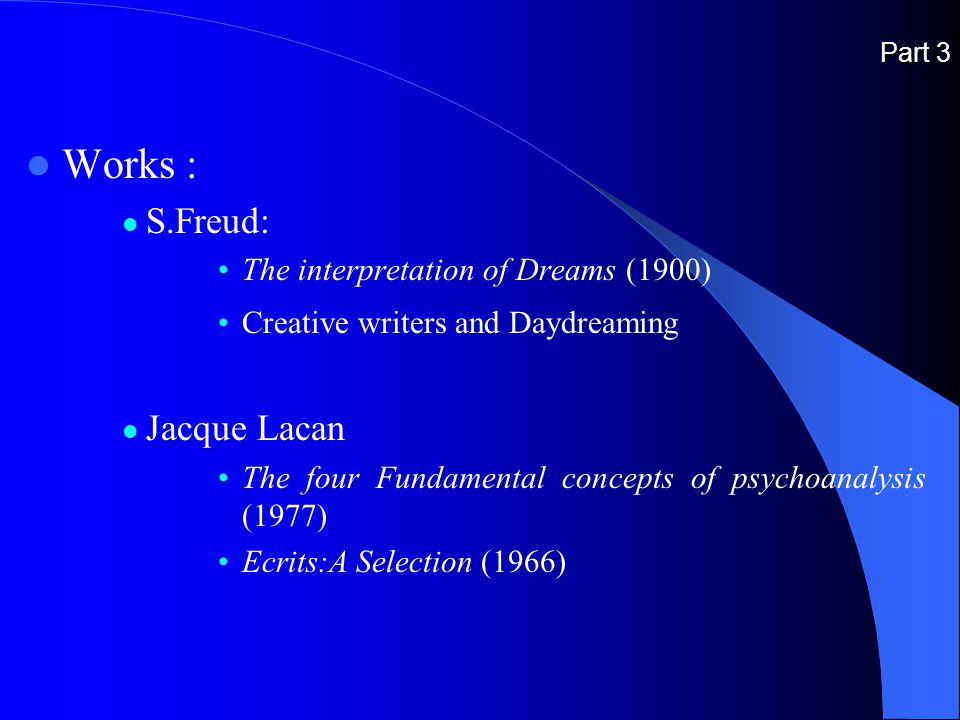 Part 3 Works : S.Freud: The interpretation of Dreams (1900) Creative writers and Daydreaming Jacque Lacan The four Fundamental concepts of psychoanalysis (1977) Ecrits:A Selection (1966)