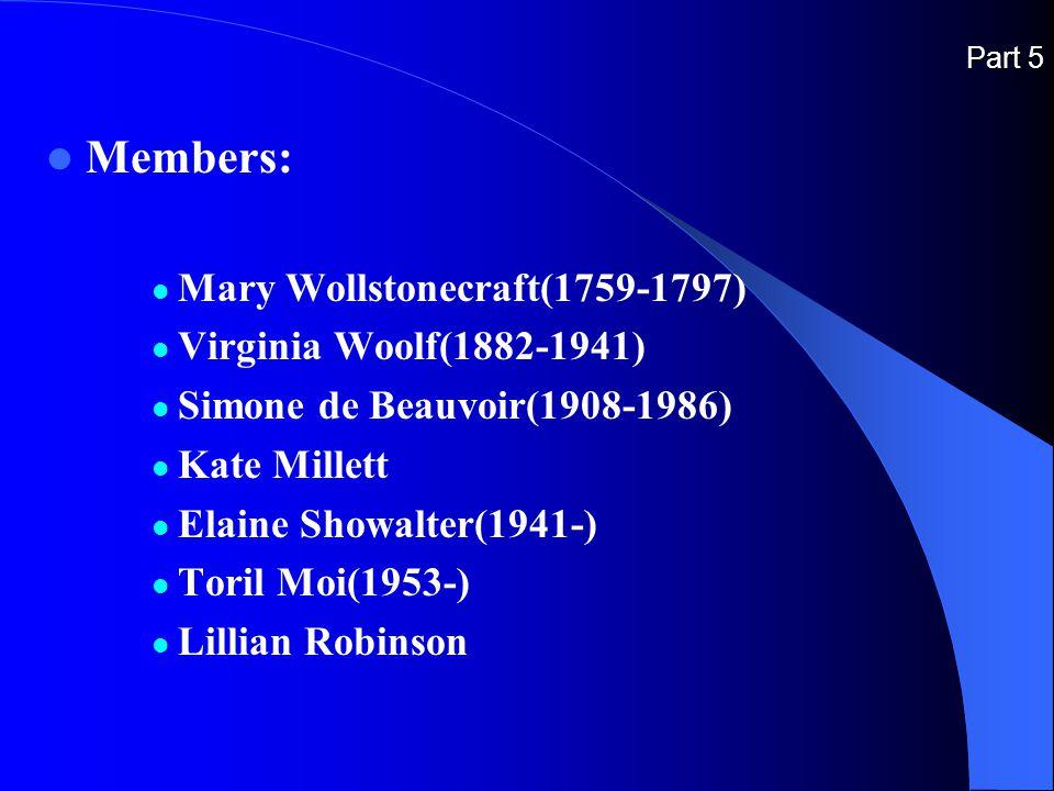 Part 5 Members: Mary Wollstonecraft(1759-1797) Virginia Woolf(1882-1941) Simone de Beauvoir(1908-1986) Kate Millett Elaine Showalter(1941-) Toril Moi(1953-) Lillian Robinson