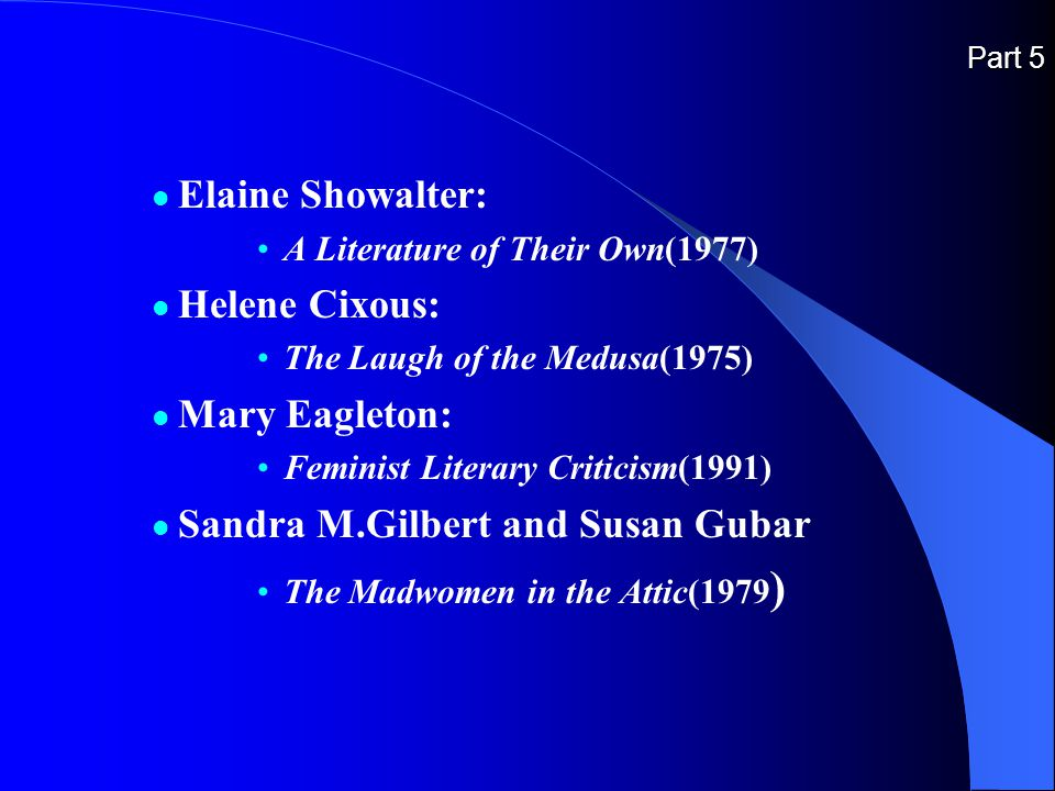 Part 5 Elaine Showalter: A Literature of Their Own(1977) Helene Cixous: The Laugh of the Medusa(1975) Mary Eagleton: Feminist Literary Criticism(1991) Sandra M.Gilbert and Susan Gubar The Madwomen in the Attic(1979 )