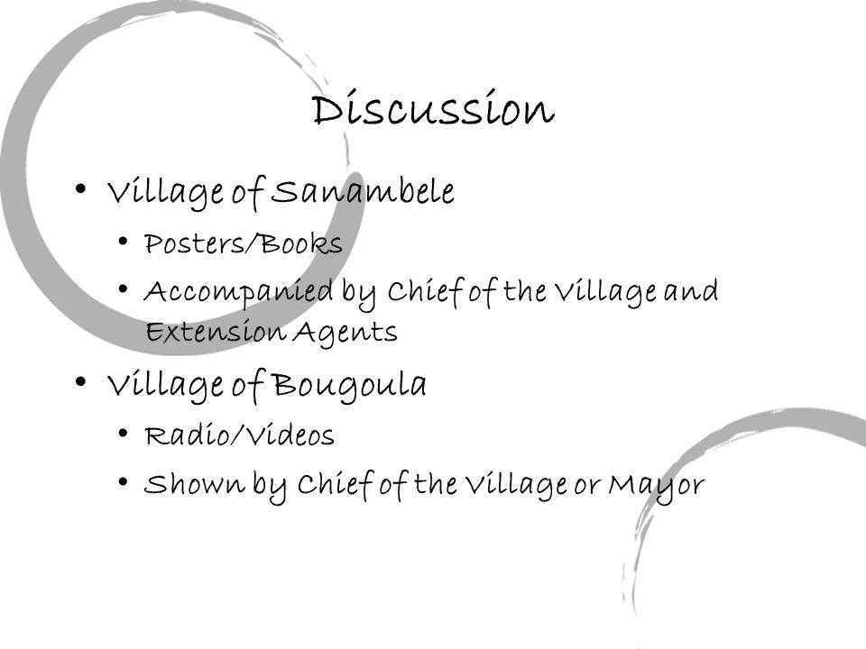Discussion Village of Sanambele Posters/Books Accompanied by Chief of the Village and Extension Agents Village of Bougoula Radio/Videos Shown by Chief of the Village or Mayor