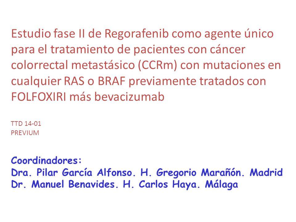 Estudio fase II de Regorafenib como agente único para el tratamiento de pacientes con cáncer colorrectal metastásico (CCRm) con mutaciones en cualquie