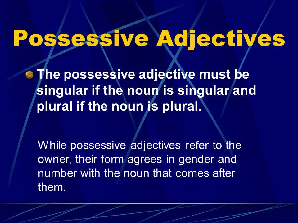 Possessive Adjectives Some examples: mi hermano mis hermanos tu abuela tus abuelas su hijosus hijos nuestro tíonuestros tíos nuestra tíanuestras tías